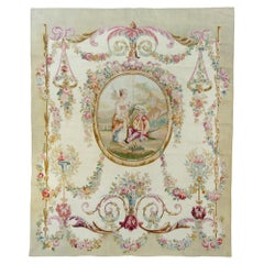 Antique 19th Century Ivory Ornate Floral French Aubusson Tapestry