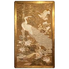 Antique 19th Century Japanese Framed Silk Panel