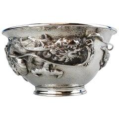 Antique 19th Century Japanese Meiji Period Silver Bowl, Arthur & Bond, Yokohoma