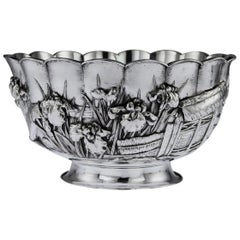 Antique 19th Century Japanese Meiji Period Solid Silver Floral Bowl, circa 1880