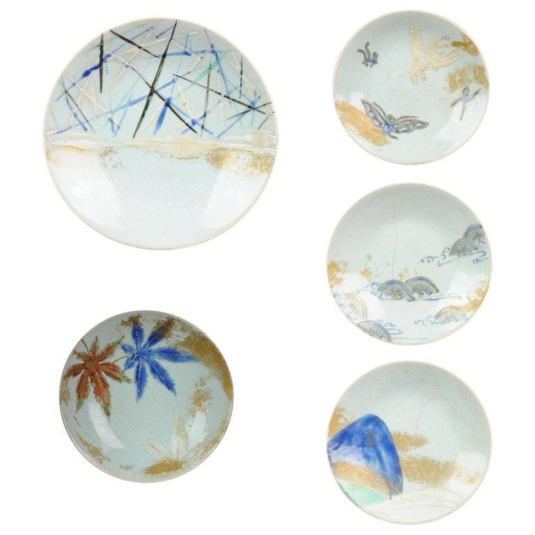 Antique 19th Century Japanese Porcelain Eiraku Ninsei Kaiseki Plates For Sale