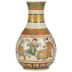 Antique 19th Century Japanese Satsuma Baluster Vase Japan Boys Meiji Period