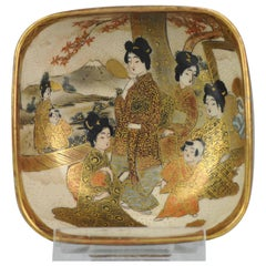 Antique 19th Century Japanese Satsuma Bowl Japan Figures Meiji Period