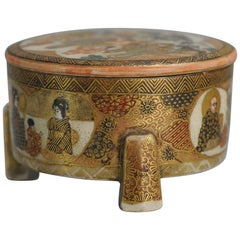 Antique 19th Century Japanese Satsuma Covered Tripod Box Japan Yokohama Satsuma