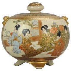 Antique 19th Century Japanese Satsuma Koro Japanese Satsuma Ware, Japan