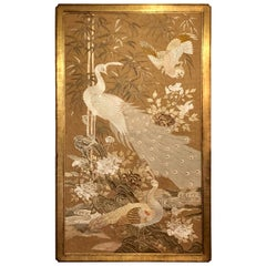 Antique 19th Century Japanese Silk Panel