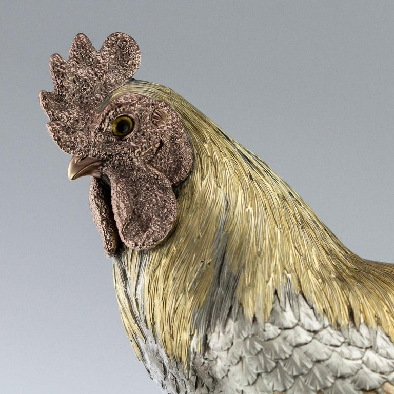 Antique 19th Century Japanese Solid Silver & Mix Metal Rooster, circa 1890 For Sale 7