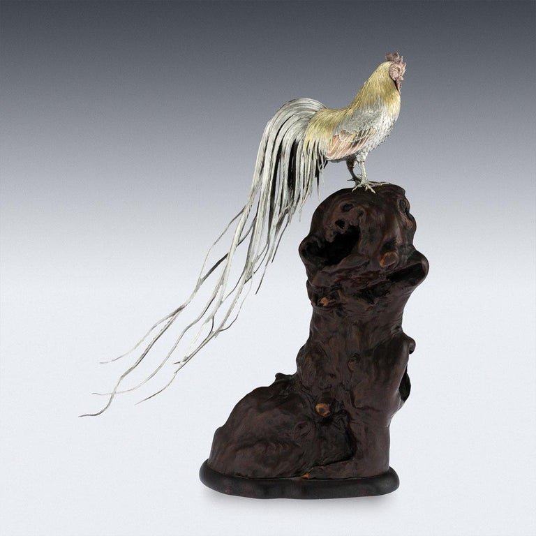 Antique 19th Century Japanese Solid Silver & Mix Metal Rooster, circa 1890 In Good Condition For Sale In London, London