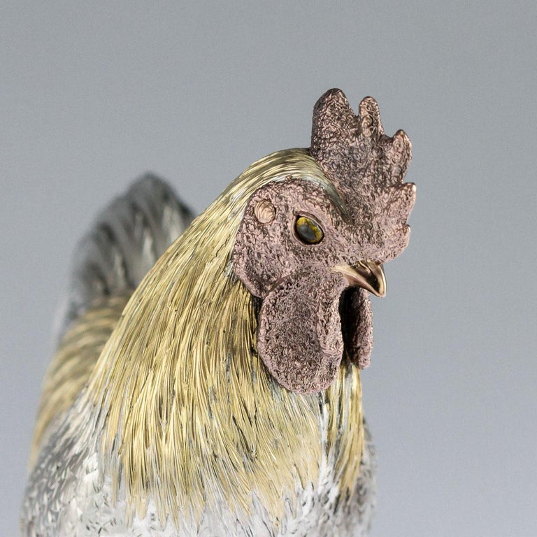 Antique 19th Century Japanese Solid Silver & Mix Metal Rooster, circa 1890 For Sale 2