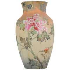 Antique 19th Century Japanese Takeuchi Chubei Vase Richly Relief Decor Marked