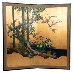 Antique 19th Century Japanese Two-Panel Screen 'Byobu', Kano School, Edo Period