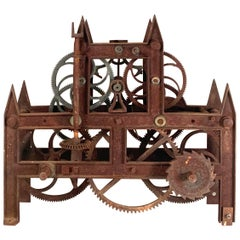 Antique 19th Century Large Iron Clockworks from a Clock Tower