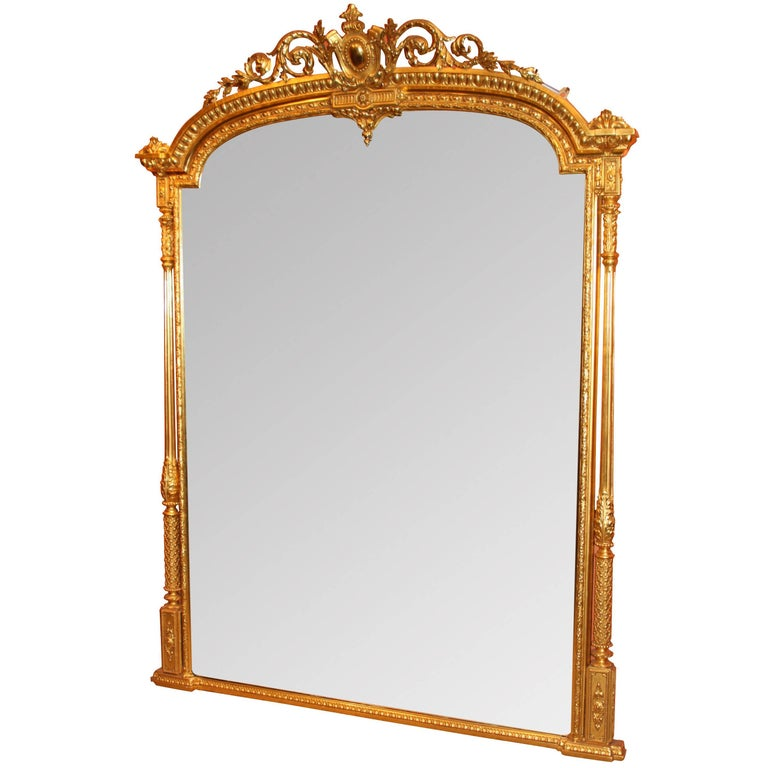 Antique 19th Century Large Overmantel Mirror