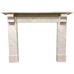 Antique 19th Century Late Victorian Carrara Marble Corbelled Fireplace Surround
