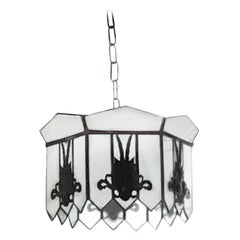 Antique 19th Century Leaded Glass Opaline Neoclassical Milk Glass Iron Pendants