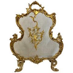 Antique 19th Century Louis XV Brass Fireplace Screen with Cherub