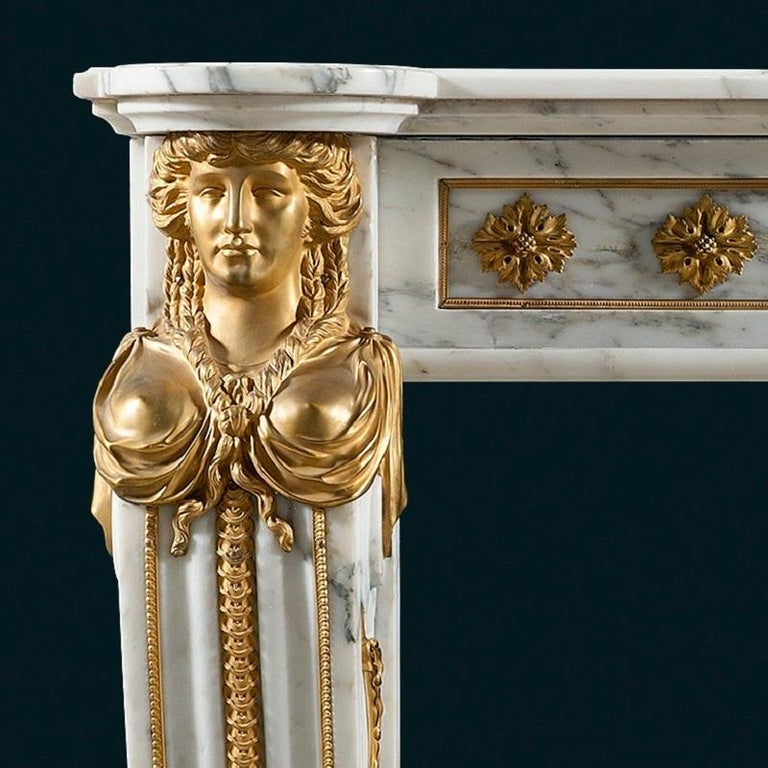 French Antique 19th Century, Louis XVI Style Fireplace Mantel For Sale