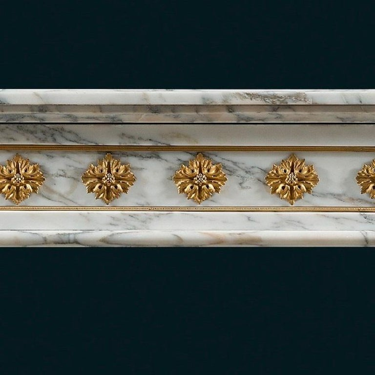 Polished Antique 19th Century, Louis XVI Style Fireplace Mantel For Sale