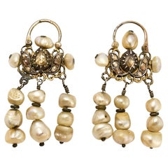 Antique 19th Century Maghreb Diamond Pearl Earrings