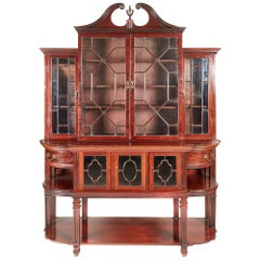 Antique 19th Century Mahogany Astragal Glazed Breakfront Bookcase