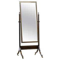 Antique 19th Century Mahogany Cheval Mirror