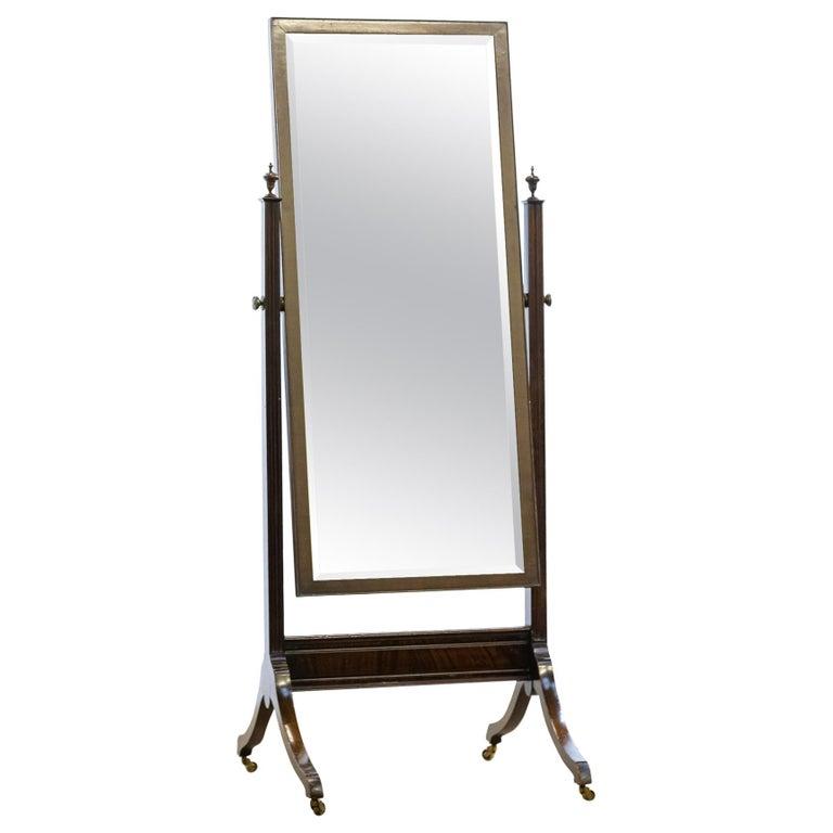 Antique 19th Century Mahogany Cheval Mirror For Sale