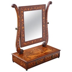 Antique 19th Century Marquetry Dressing Table Swing Mirror Toilet