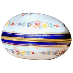 Antique 19th Century Meissen Egg Floral Gilt Trinket Box, France, 1875, Cobalt