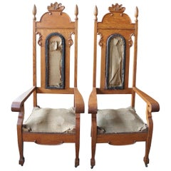 Antique 19th Century Monumental Victorian Quartersawn Oak Carved Throne Chairs