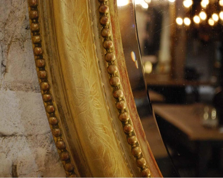 Antique 19th Century Napoleon III French Oval Mirror For Sale 9