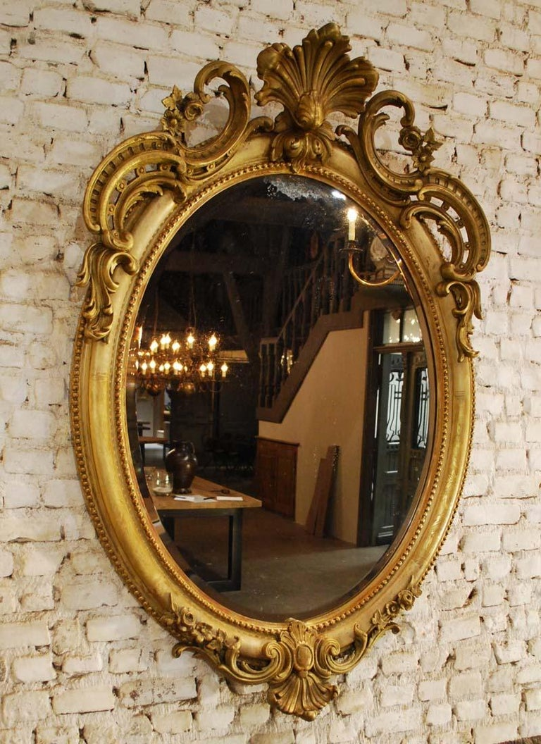 Antique 19th Century Napoleon III French Oval Mirror In Good Condition For Sale In Casteren, NL