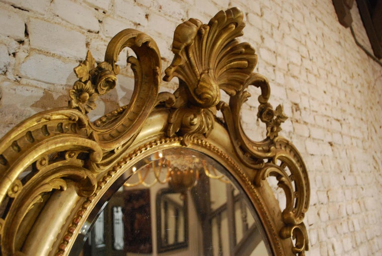 Gesso Antique 19th Century Napoleon III French Oval Mirror For Sale