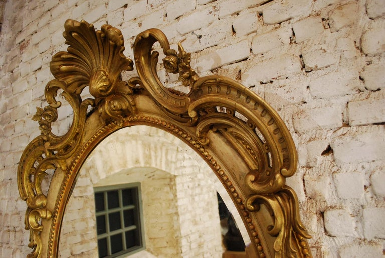 Antique 19th Century Napoleon III French Oval Mirror For Sale 1