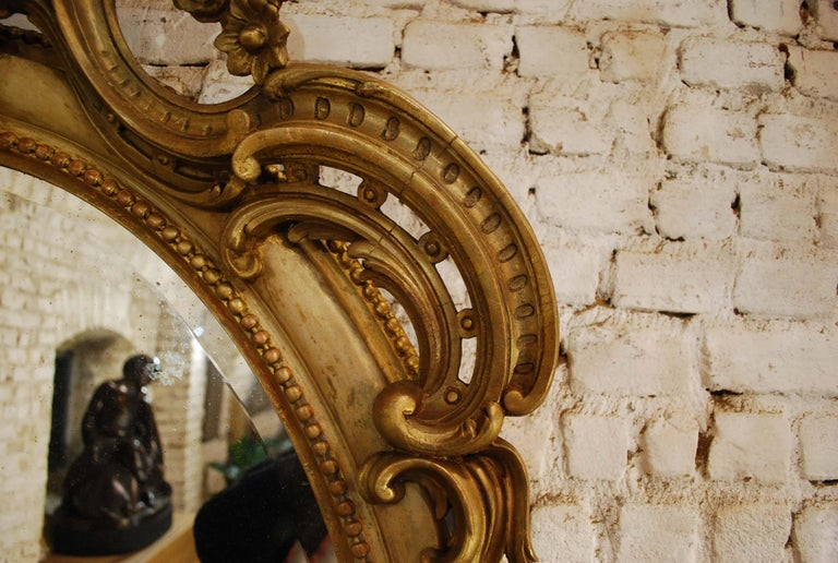 Antique 19th Century Napoleon III French Oval Mirror For Sale 5