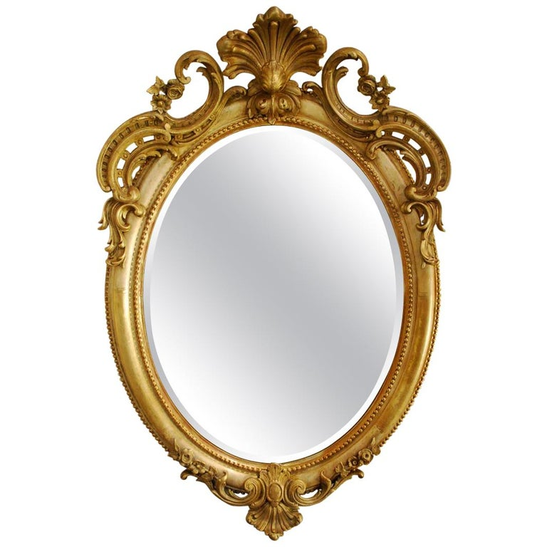 Antique 19th Century Napoleon III French Oval Mirror For Sale