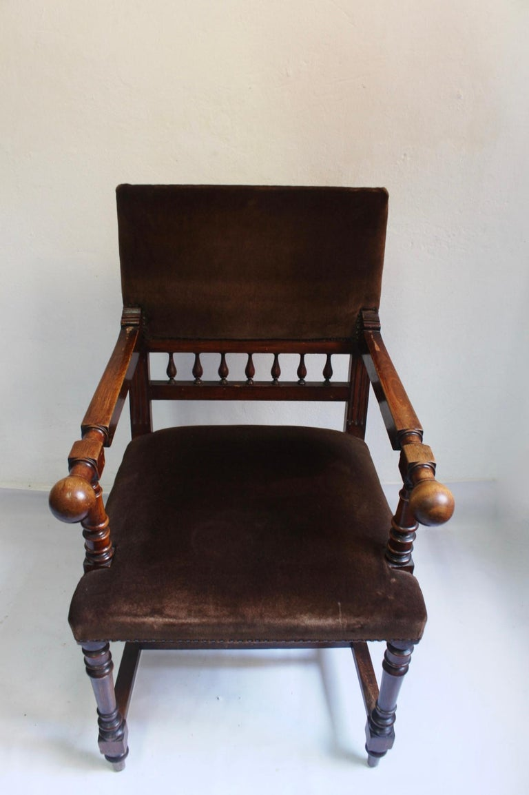 Antique 19th Century Napoleon III Solid Wood Throne Chair ...
