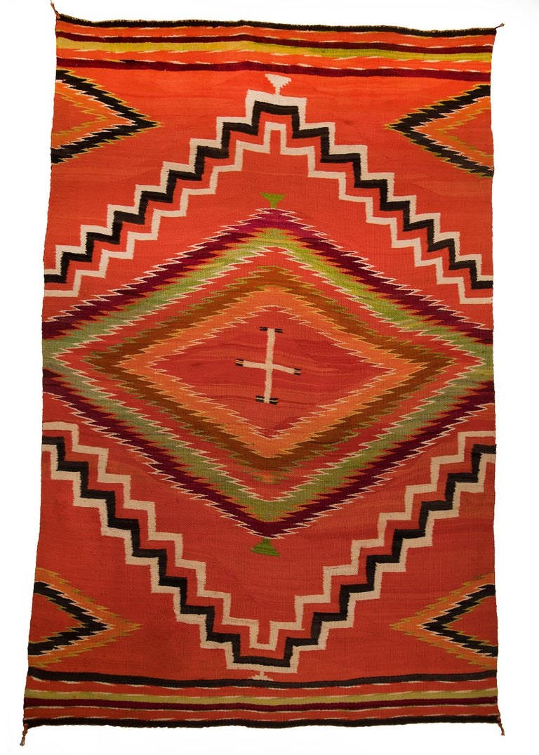 Native American Antique 19th Century Navajo Wearing Blanket with Cross Motif, circa 1880 For Sale
