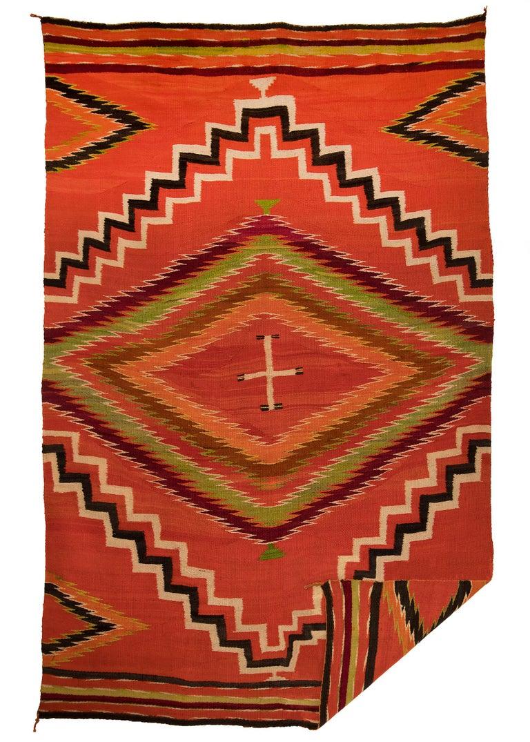 Hand-Woven Antique 19th Century Navajo Wearing Blanket with Cross Motif, circa 1880 For Sale