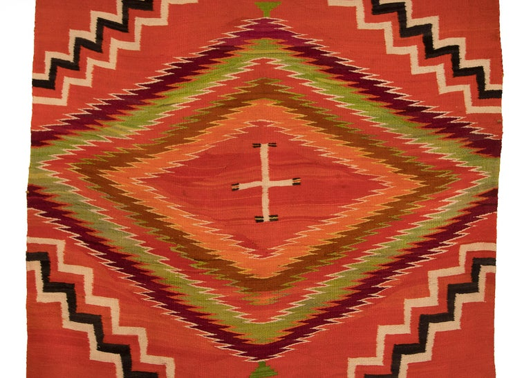 Antique 19th Century Navajo Wearing Blanket with Cross Motif, circa 1880 In Good Condition For Sale In Denver, CO