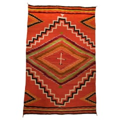 Antique 19th Century Navajo Wearing Blanket with Cross Motif, circa 1880