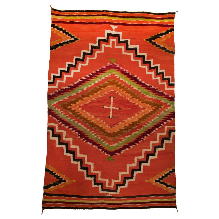 Antique 19th Century Navajo Wearing Blanket with Cross Motif, circa 1880 For Sale