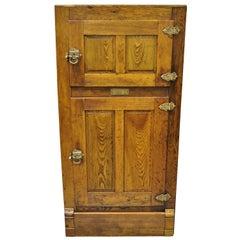 Antique 19th Century Oak Wood Two Door Ice Box Freezer Fridge by Steinfeld Jewel