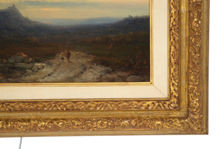 Antique 19th Century Oil Landscape Painting of Shepherd by J. Hoppenbrouwers For Sale 7