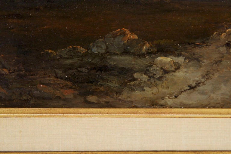 Antique 19th Century Oil Landscape Painting of Shepherd by J. Hoppenbrouwers For Sale 4