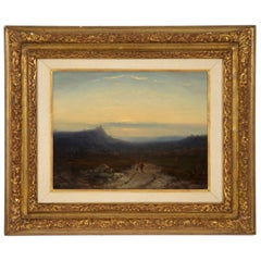 Antique 19th Century Oil Landscape Painting of Shepherd by J. Hoppenbrouwers