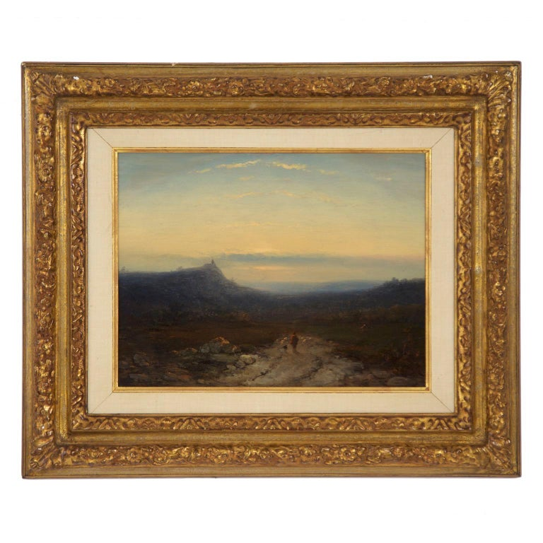 Antique 19th Century Oil Landscape Painting of Shepherd by J. Hoppenbrouwers For Sale