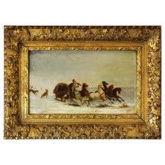 Antique 19th Century Oil on Board Painting 'Winter Scene' by J.Orloff
