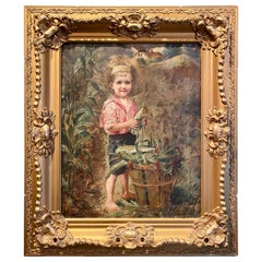 Antique 19th Century Oil on Canvas Painting of Charming Young Boy in Straw Hat