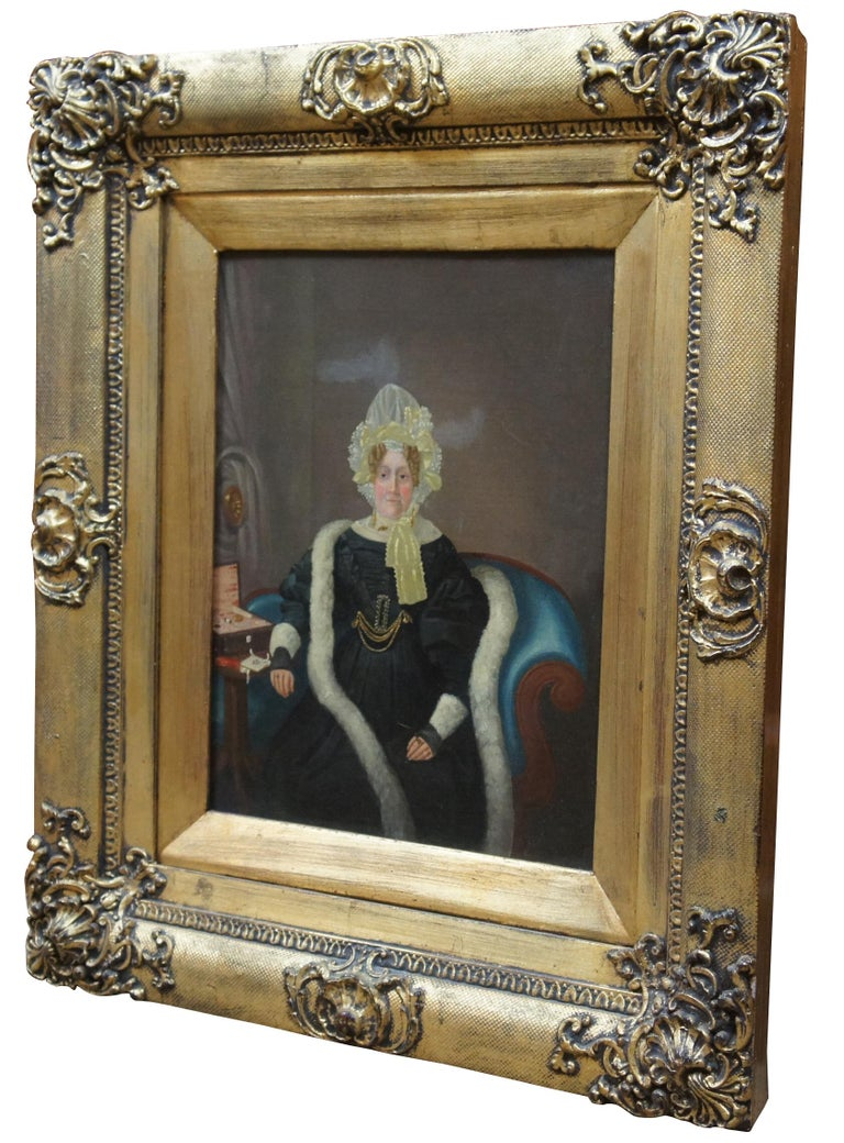 "Antique early Victorian portrait painting of a wealthy woman / aristocrat in black, wearing a bonnet, ornate gold frame.     Sans Frame - 10.25"" x 13"""