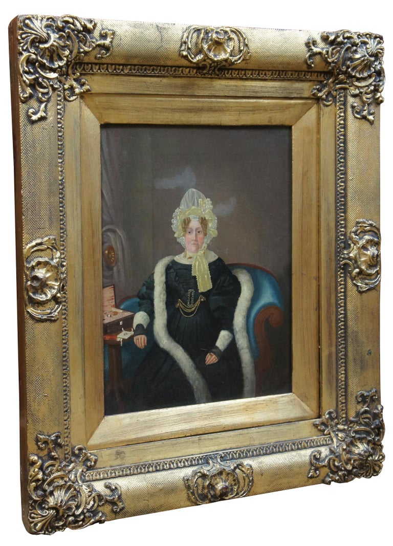 Early Victorian Antique 19th Century Oil on Canvas Portrait Woman in Bonnet For Sale